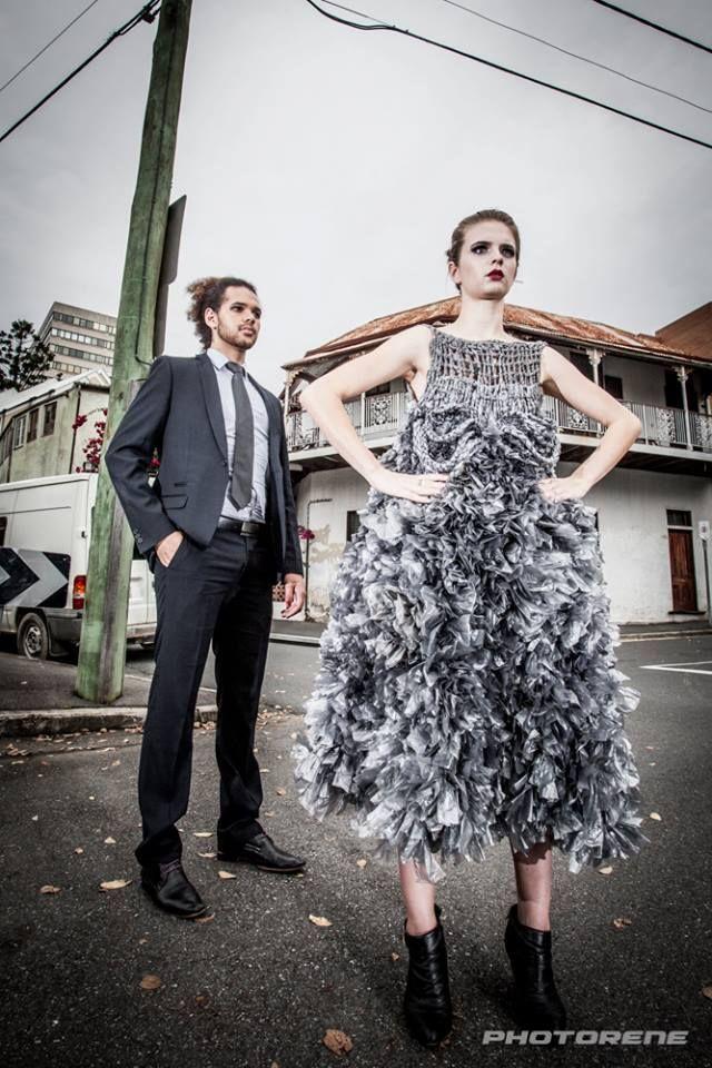 Plastic Fantastic Dress made only of plastic bags #hoskindesigns #fashion #avant garde #art