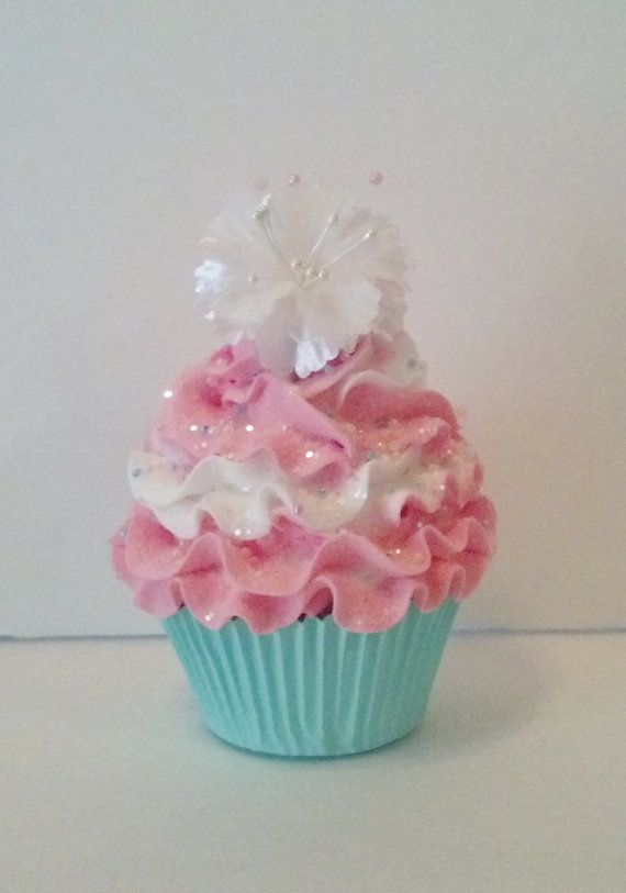 Shabby Chic Fake Cupcake Photo Prop, Home Accents and Decor, Pastel Cupcake Displays, Tea Party Picture Props
