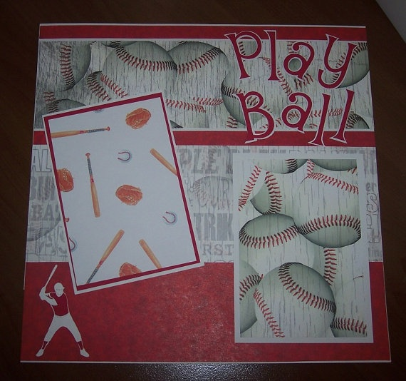 12x12 premade baseball themed scrapbook page by ShareBearCreations, $5.50    idea for matte