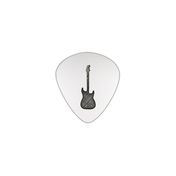 """Silver guitar pick in solid silver 925° with a guitar on one side and the phrase """"I hope you have the time of your life"""" and the initials """"M"""" and """"P"""" (Π) in greek on the other side. By Shine4ever.gr !"""