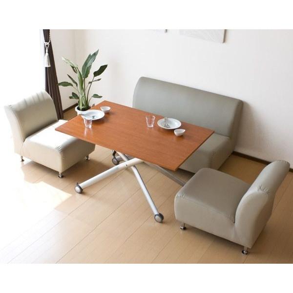 ELLE ソファー (2人掛けと1人掛け×2) と 昇降式テーブルの リビングダイニング4点セット  dining  #ダイニング