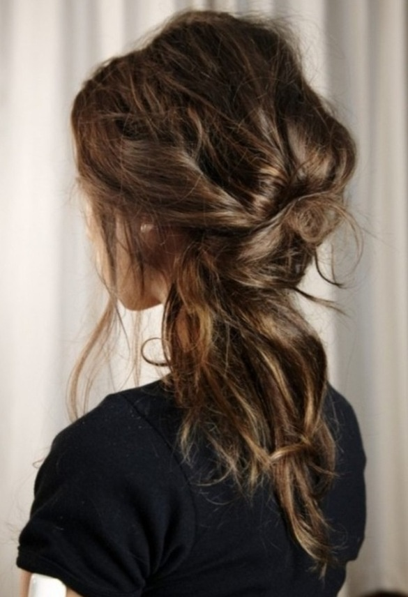 Pin large sections of hair for a relaxed half-updo.
