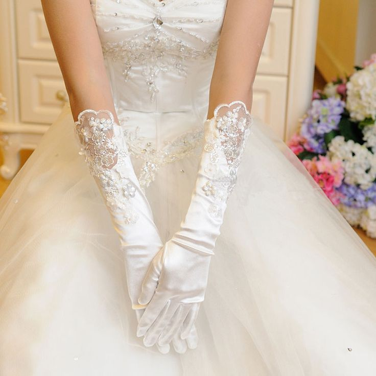 2014 beading flower the bride married gloves formal wedding dress accessories white ivory color $12.00