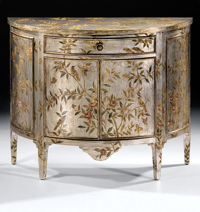 Hand Painted Furniture Demilune Cabinet