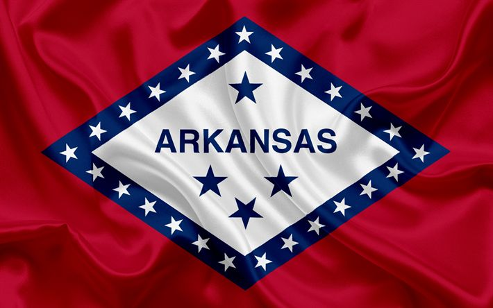 Download wallpapers Arkansas Flag, flags of States, flag State of Arkansas, USA, state Arkansas, Red silk