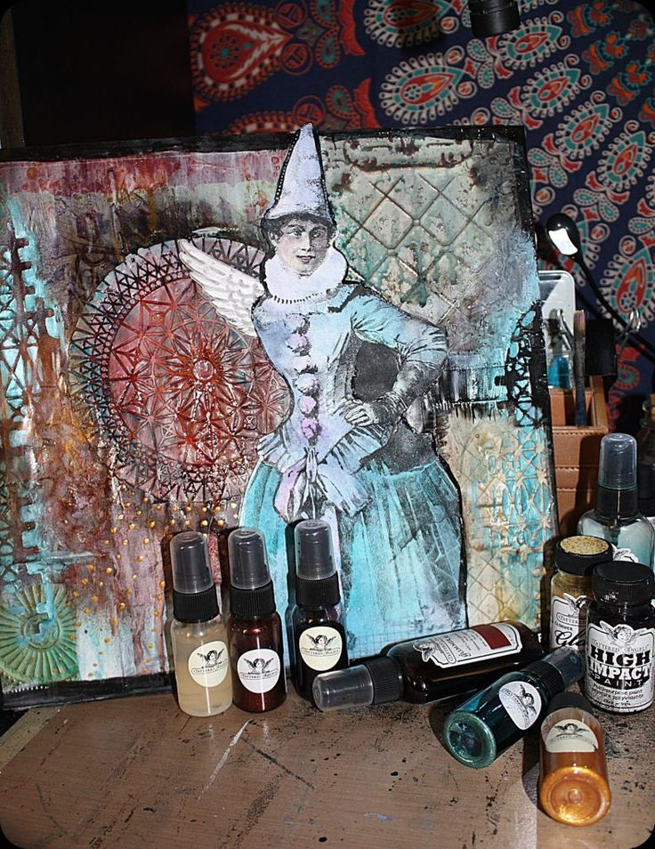 Two Mixed Media Paintings with Tattered Angels - The Creative Studio