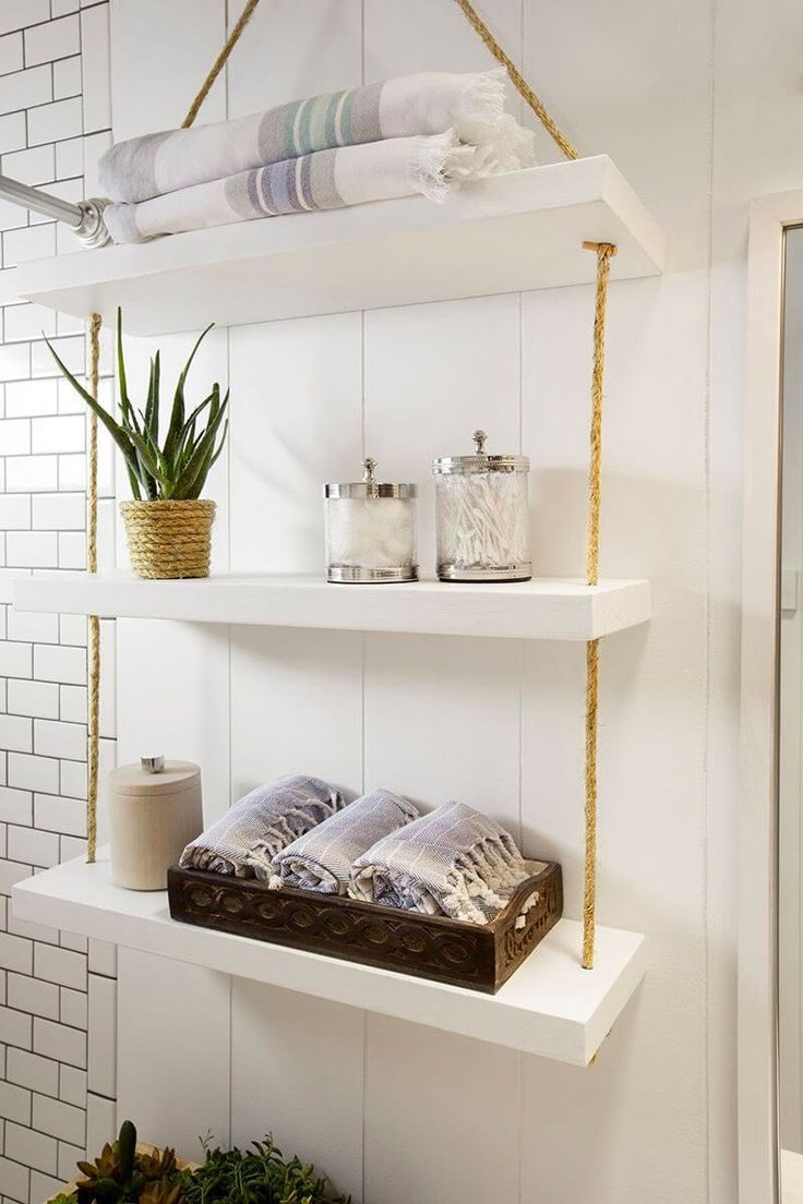 10 Diy Bathroom Ideas That May Help You Improve Your Storage Space 1 Wooden Bathroom Shelves Hanging Bathroom Shelves Diy Space Saving