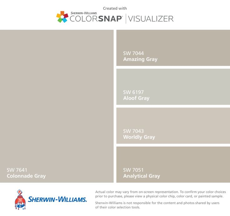 A bunch of gray choices. Color will be for hallways/foyer/stairs/loft-playroom   Sherwin-Williams: Colonnade Gray (SW 7641), Amazing Gray (SW 7044), Aloof Gray (SW 6197), Worldly Gray (SW 7043), Analytical Gray (SW 7051).