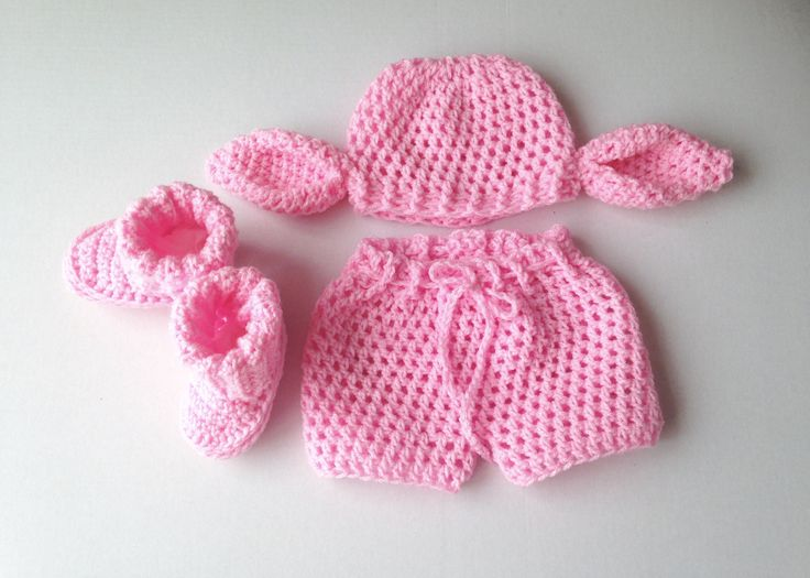 Crochet baby Pig Set, hat, booties and nappy cover, piggy set, crochet pig photo prop, handmade, baby shower, fancy dress, baby shower gift by MummysLittleGemUK on Etsy