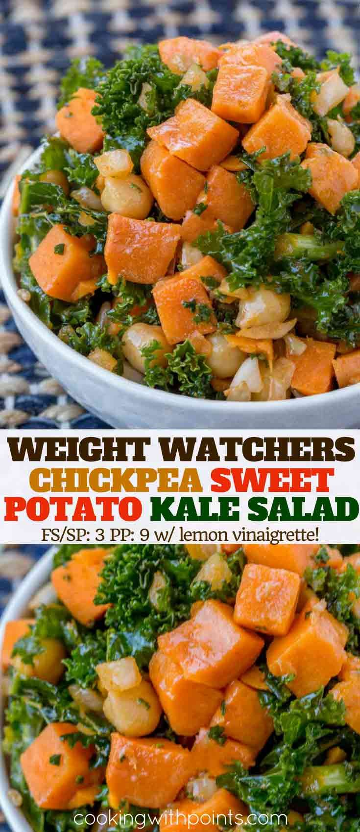 Chickpea Sweet Potato Kale Salad made with a delicious olive oil and lemon vinaigrette is a high protein super healthy lunch option with just 3 smart points per serving.