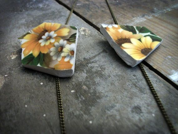 Floating Two Piece Yellow Floral Pattern by VioletJewelleryCo