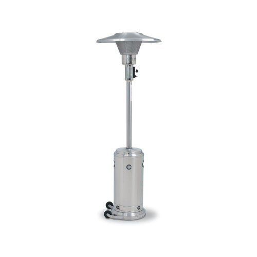 "Crown Verity Patio Heater Stainless Steel #CV2650-SS by Crown. $537.60. Agency Listed: USA and Canada approvals through CSA infrared patio heater standard. Approx. Run Time: 10 hrs on hi, 12-15 hrs on low & med (20 lb tank). Base Dia.: 18.25"". Finish: Stainless Steel. Commercial Warranty: 120 days limited parts only. CV2650-ss  Features: -Completely self-contained and portable.-Provides a clean circle of warmth with adjustable heat output.-Piezo electric ignition system/ fail s..."