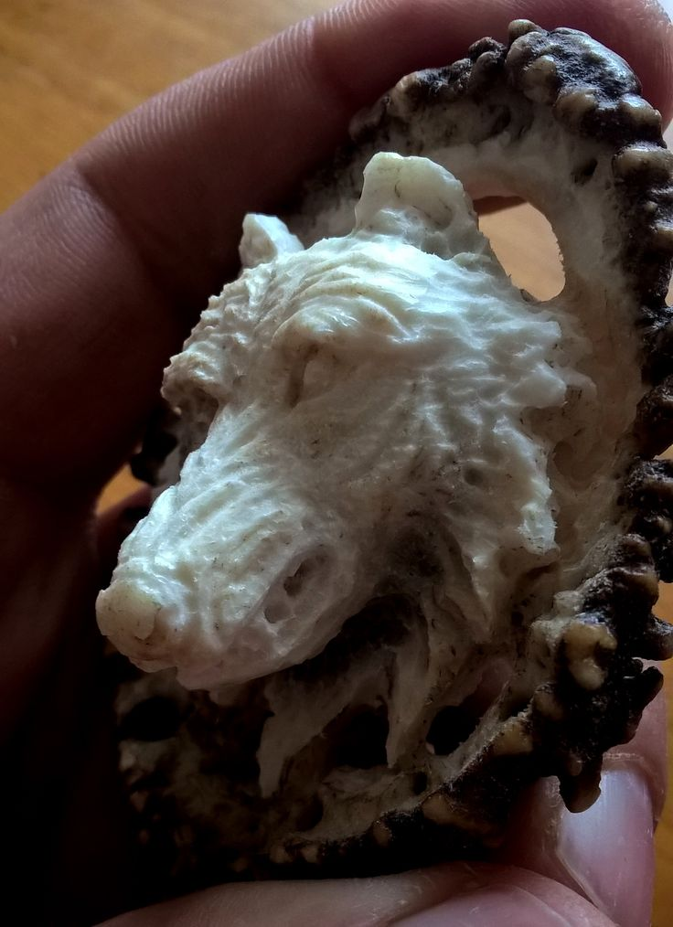 Wolf antler carving