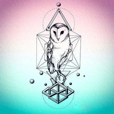 Nice Geometric Owl Tattoo Design
