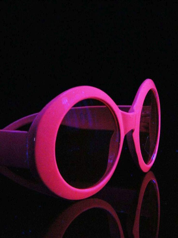 Schwarzlicht Brille Rund Disco Neon Pink