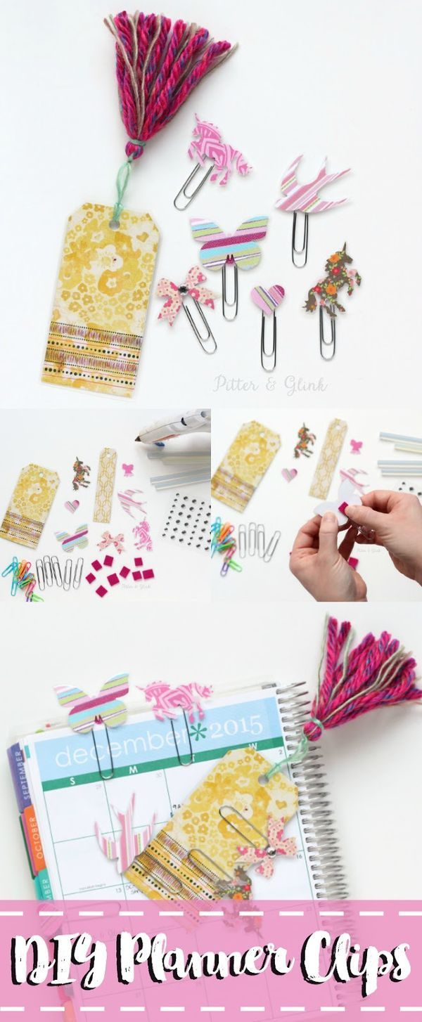 Learn how to easily make inexpensive handmade decorative planner clips using scrap paper--a perfect DIY gift idea for the planner girl in your life.  sponsored  www.pitterandglink.com