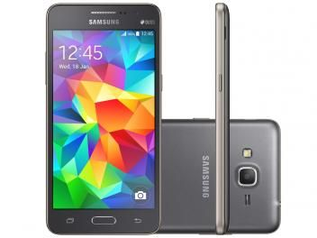 "Smartphone Samsung Galaxy Gran Prime Duos 8GB - Cinza Dual Chip 3G Câm. 8MP + Selfie 5MP Tela 5"""