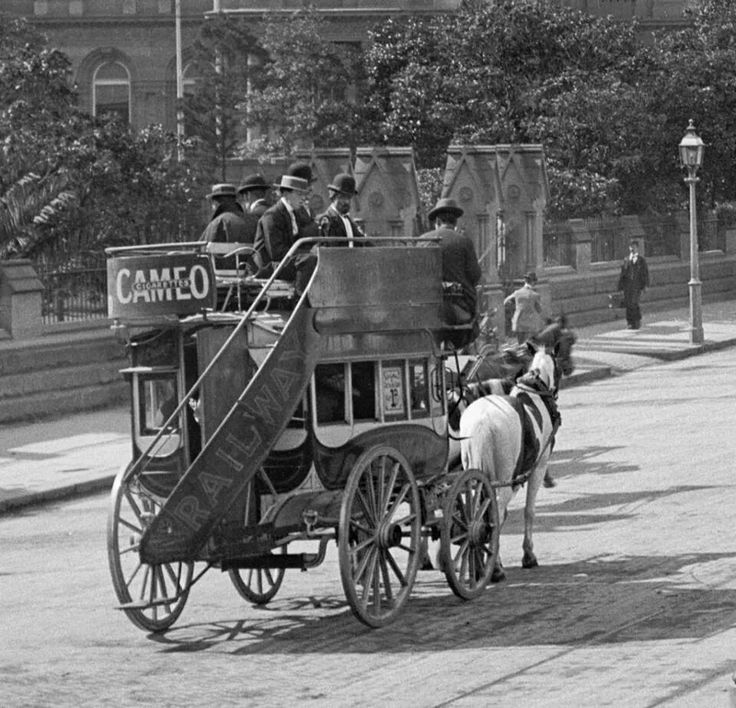 Sydney Central, Australia, 1898 - The Omnibus. Sydney Central was the only railway station in the City at this time. So the Omnibus was used to bring passengers further into town