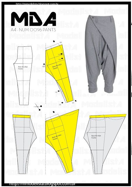 Crossing harem pants patterns