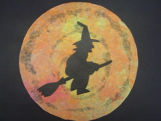Witch Flying Across the Moon Coffee Filter Art