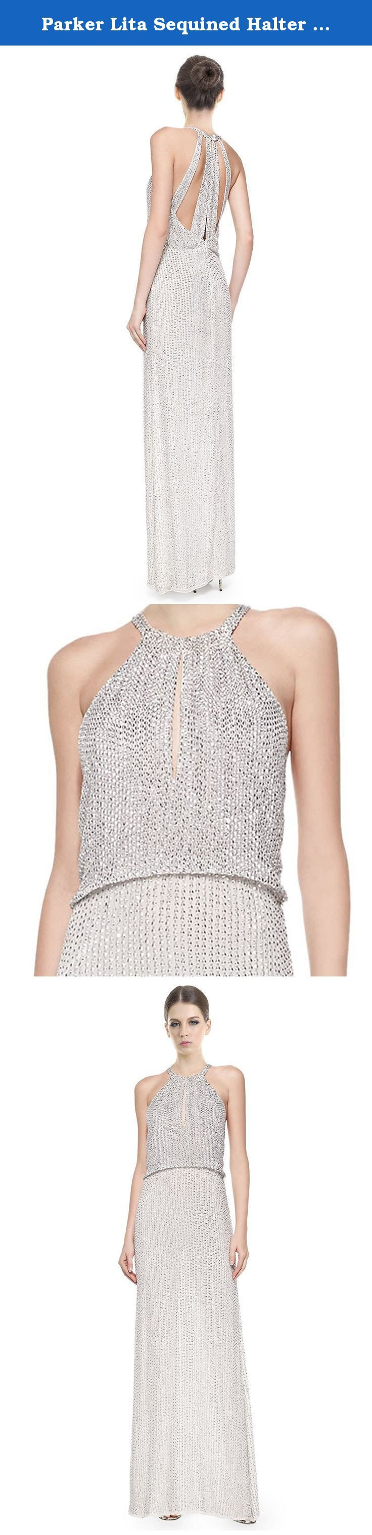 "Parker Lita Sequined Halter Blouson Evening Gown Dress. Parker Evening sequined evening gown. Halter neckline with keyhole center; strappy back with button closure. Blouson top. A-line skirt, slit on left, 12""L. Back zip."