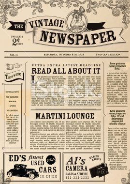 Vintage Newspaper layout design template Royalty Free Stock Vector Art Illustration