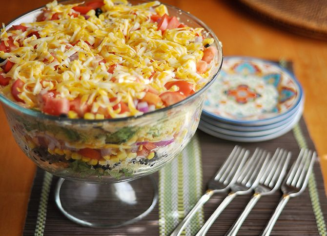 South by Southwest Layered Cornbread Salad (I want a bite now! Looks good!)