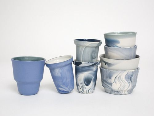 Colour pigments diluted into liquid porcelain make for dreamlike cups and bowls. Read our blog here for more on Alissa + Nienke's work...