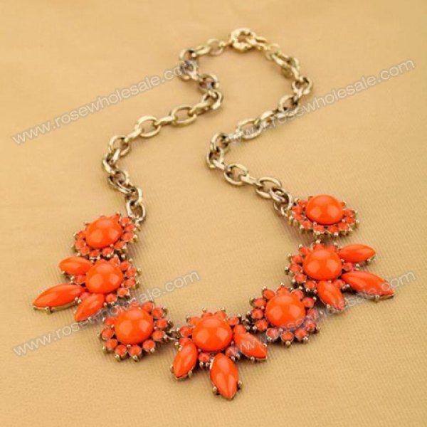Wholesale Elegant Gem and Rhinestone Embellished Flower Shape Pendant Necklace For Women (ORANGE), Necklaces - Rosewholesale.com