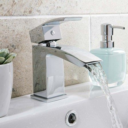 Vellamo City Waterfall Small Basin Mixer with Clicker Waste | Tap Warehouse