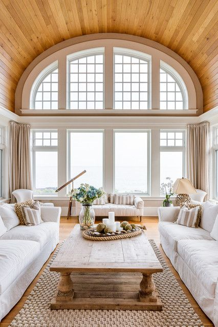 Beautiful living room wooden barrel vaulted ceiling white - White wooden living room furniture ...