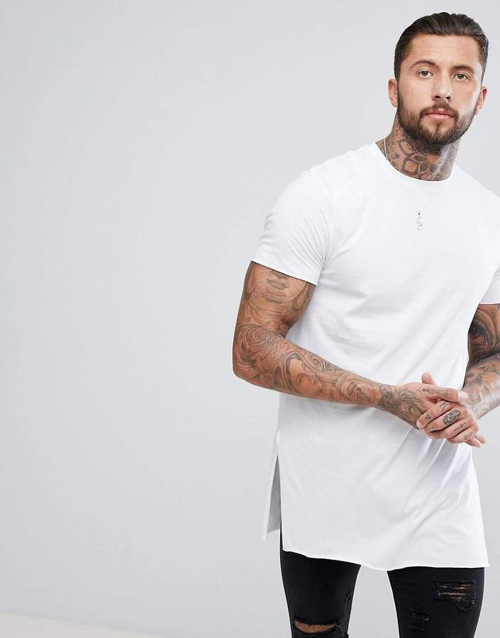 59a7354a68f2 Asos Super Longline T-Shirt With Extra Long Side Splits And Raw Edges