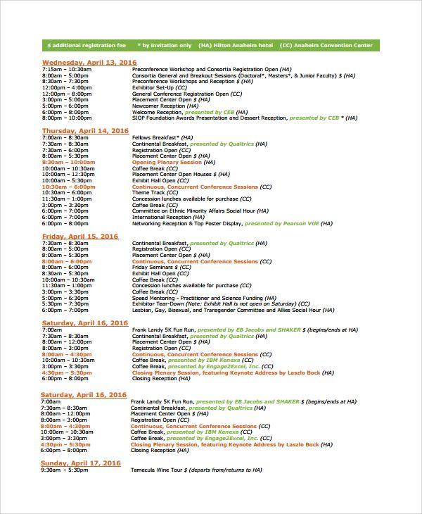 Event Schedule Template Schedule Template Program Template