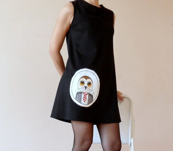 Owl Dress Womens Black Mini Cotton Jersey Dress by ShebboDesign, $75.00  women fashion!