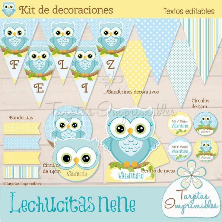 Kit de decoraciones Lechucitas o Búhos nene