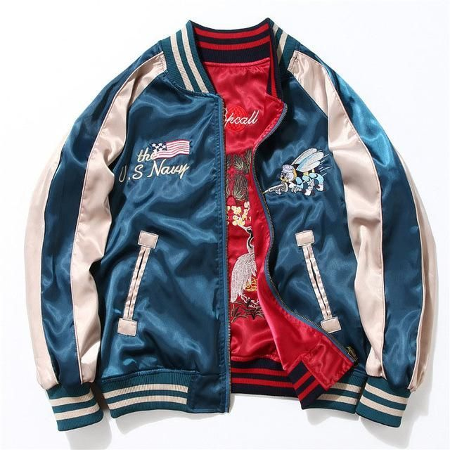 Yokosuka Embroidery Jacket Men Fashion Vintage Baseball Uniform Both Sides Wear Kanye West Bomber Jackets Lederjacke Manner Modestil Frauenjacke