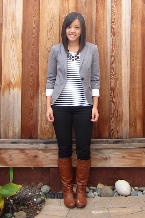 Brown boots, black skinnies, striped t, statement necklace and grey blazer. Love it.   Putting me together