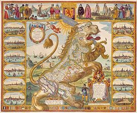 """""""Leo Belgicus: The Dutch Lion or Leo Belgicus, Latin for Netherlandic Lion..., is a map of the Low Countries (the current day Netherlands, Luxembourg and Belgium) drawn in the shape of a lion."""" -- Click through for 10 of these kinds of maps!"""
