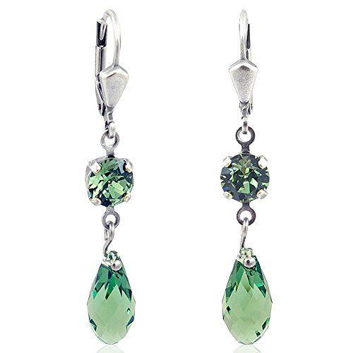 Ohrringe mit Kristallen von Swarovski  Gr¨¹n Silber - NOBEL SCHMUCK ... 09aca69a6d1