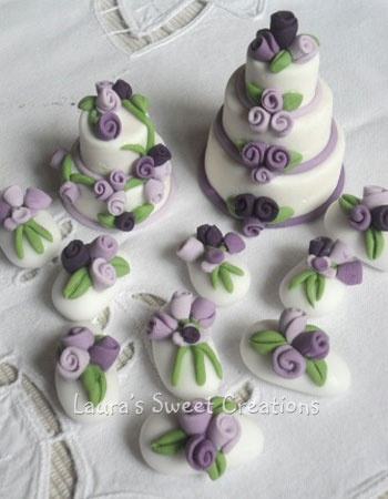 Laura's Sweet Creations: Confetti decorati e minicake viola e lilla