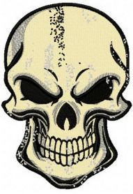 Smiling skull machine embroidery design. Machine embroidery design. www.embroideres.com