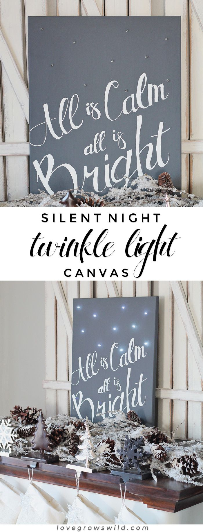Silent Night Twinkle Light Canvas - Learn how to make this festive canvas art to light up your holiday! Details at LoveGrowsWild.com #chalkyfinish @michaelsstores
