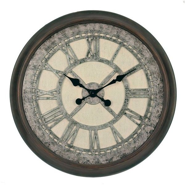 Galvanized Cream Wall Clock (53 AUD) ❤ liked on Polyvore featuring home, home decor, clocks, battery powered clock, wall home decor, battery wall clocks, roman numeral clock and antique white wall clock
