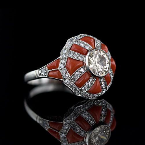 Art Deco coral and diamond ring.