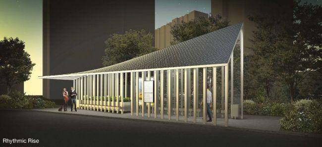 Проект остановочного комплекса Rhythmic Rise. Изображение предоставлено журналом «Проект Балтия»