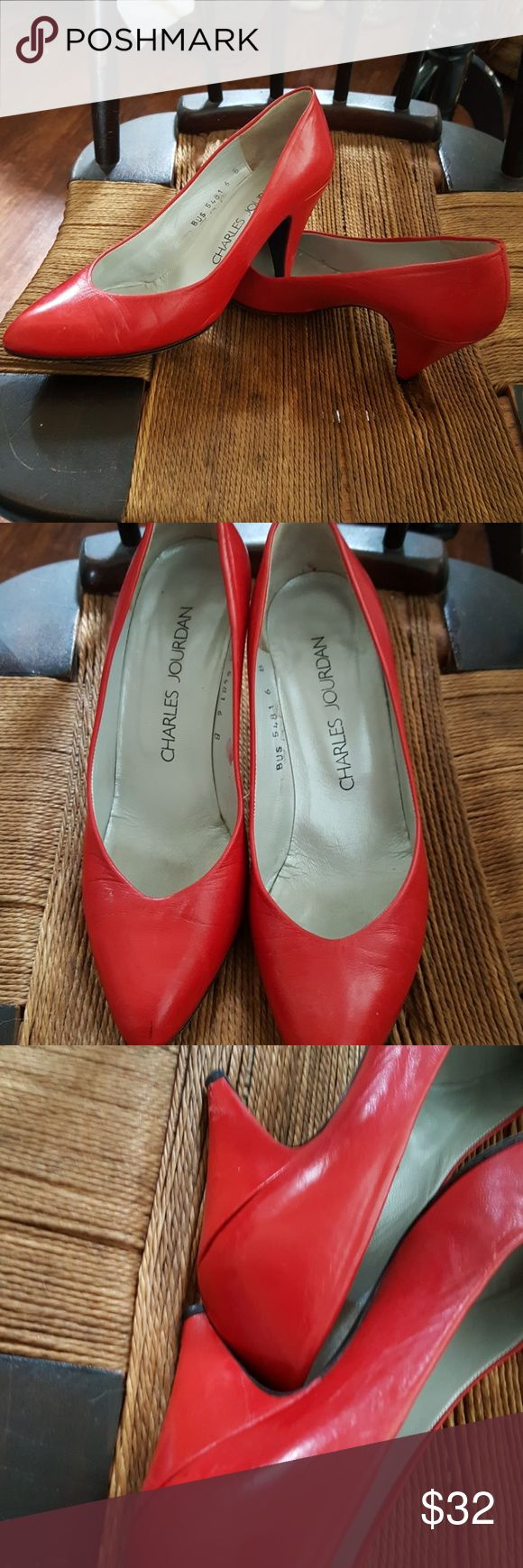 Carles Jourdan fire engine red pumps 6 These are very costly shoes in a super soft leather made in Spain with leather soles. No original box. Don't miss these beauties. Reasonable offers welcome. Charles Jourdan Shoes Heels