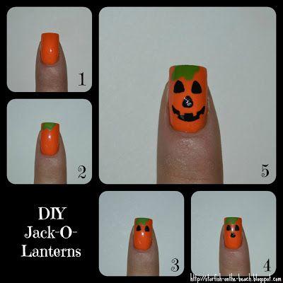 DIY Jack-o-lantern nail art