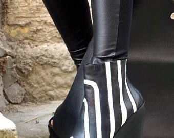 """VERKOOP nieuwe collectie SS/15 """"Zebra"""" Black & White echte lederen wiggen / Sexy extravagante """"Must Have"""" All seasons schoenen door Aakasha A15194"""
