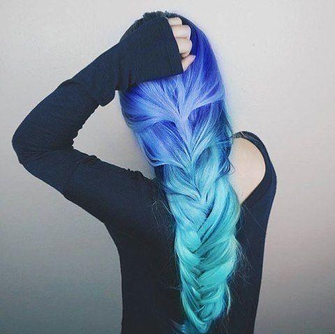 #hair #hairstyle #ombrehair #dipdye #coloredhair #dyedhair #cute #girl #longhair #hairgoals #hairideas #hairinspo #grunge #grungegirl #grungestyle #bluehair #turquoisehair #purplehair #lilachair #braidedhair #braid #haircut #haircolor