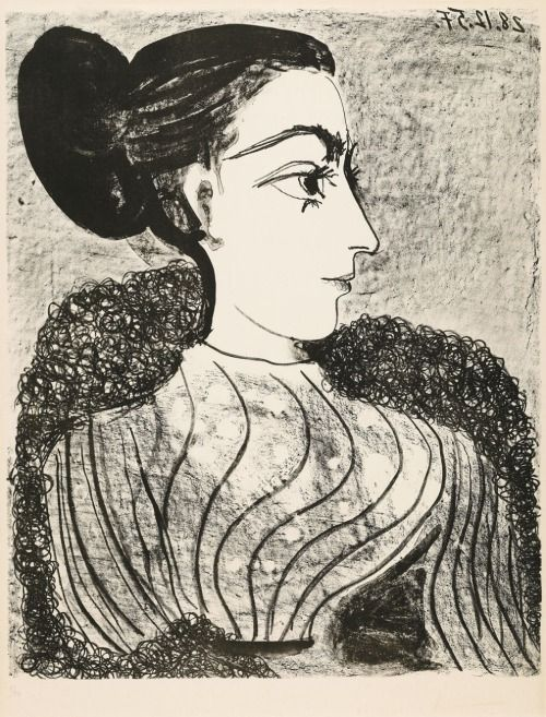 Pablo Picasso - Femme au chignon , 1950s Lithograph